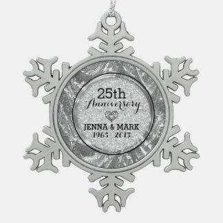 Black & Silver 25th Wedding Anniversary Ornament Ornament
