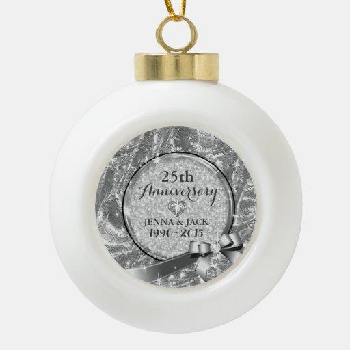 Black Silver 25th Wedding Anniversary Ornament 4 Zazzle