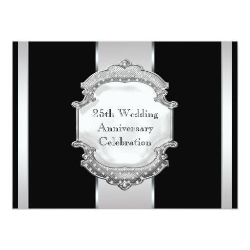 Black Silver 25th Wedding Anniversary Party Invites