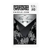 Black, Silver 25th Wedding Anniversary Postage