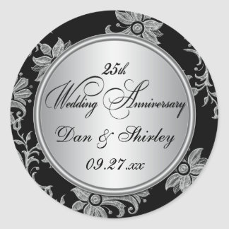 Black, Silver 25th Wedding Anniversary Sticker