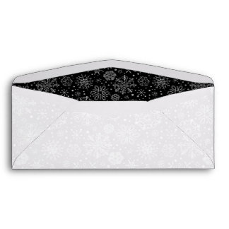 Black & Silver Abstract Christmas Snowflakes Envelope