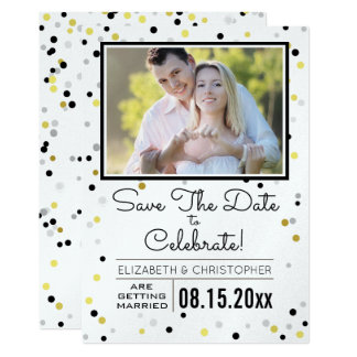 Black Silver and Gold Confetti Photo Save the Date Card