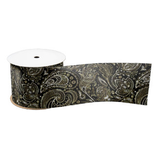 Black Silver And Gold Floral aisle Pattern Satin Ribbon