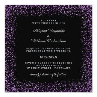Black Silver and Purple Confetti Dark Glam Wedding Card