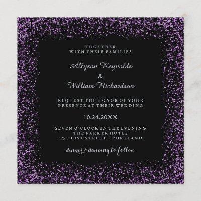 Black Silver and Purple Confetti Dark Glam Wedding Invitation