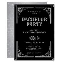 Black Silver Art Deco Bachelor Party Invitation