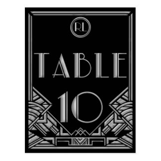 Black Silver Art Deco Gatsby Style Table Number 10 Postcard