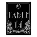 Black Silver Art Deco Gatsby Style Table Number 14 Post Card