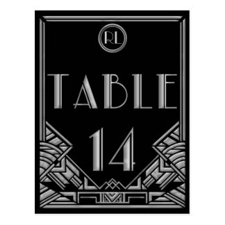 Black Silver Art Deco Gatsby Style Table Number 14 Postcard