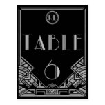 Black Silver Art Deco Gatsby Style Table Number 6 Postcard