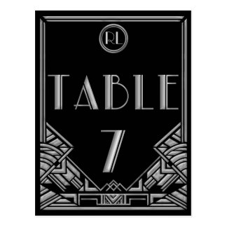 Black Silver Art Deco Gatsby Style Table Number 7 Postcard