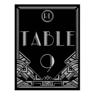 Black Silver Art Deco Gatsby Style Table Number 9 Postcard