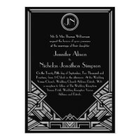 Black Silver Art Deco Gatsby Style Wedding Invites