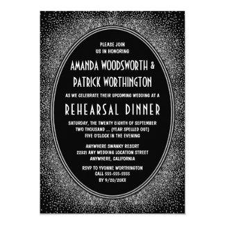 Black Silver Art Deco Rehearsal Dinner Invitations