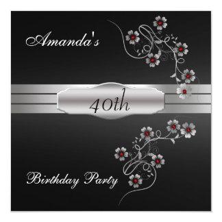Black Silver Birtday Party Invitation
