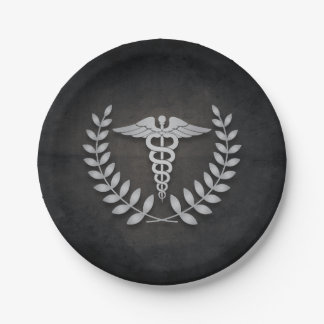 Black + Silver Caduceus Medical Doctors Party Paper Plate