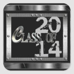 Black  & Silver Class Of 2014 Graduation Stickers