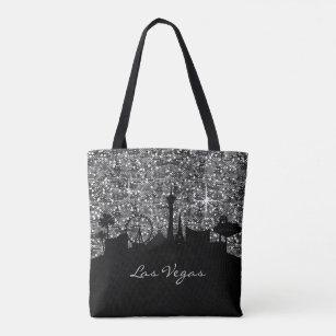 Black Silver Confetti Glitter Las Vegas Skyline Tote Bag