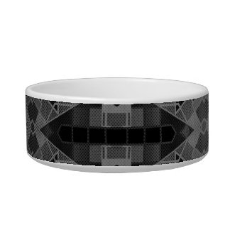 Black&Silver Crazy Abstract Cat Food Bowls