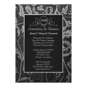 Business anniversary invitations announcements zazzle black silver damask 25th business anniversary invitation stopboris Images