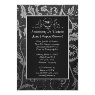 Black - Silver Damask 25th Business Anniversary Custom Announcement