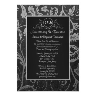 Black - Silver Damask 25th Business Anniversary Personalized Invites