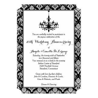 Black, Silver Damask, Chandelier 25th Anniversary Card