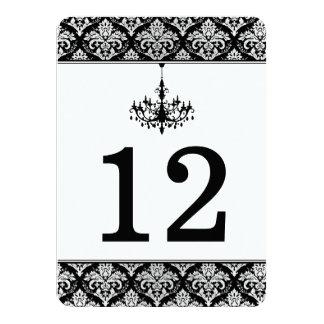 Black, Silver Damask, Chandelier Table Number Card