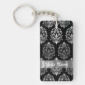 Black & silver damask acrylic keychains