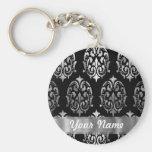 Black & silver damask keychains