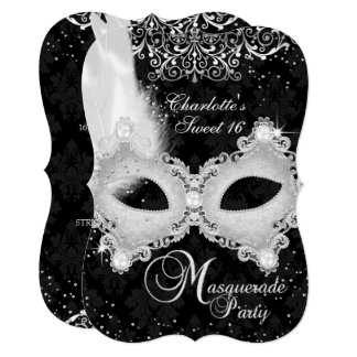 Black Silver Damask Mask Masquerade Sweet 16 Card