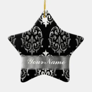 Black & silver damask christmas ornament