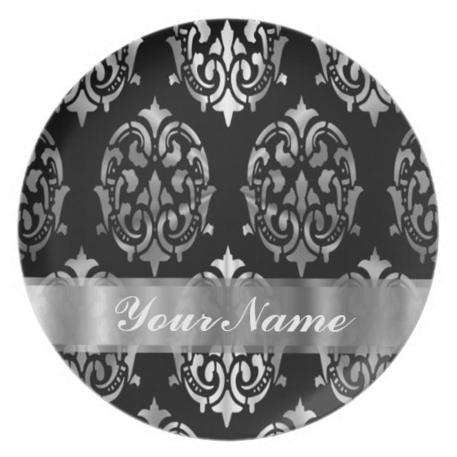 Black & silver damask party plates