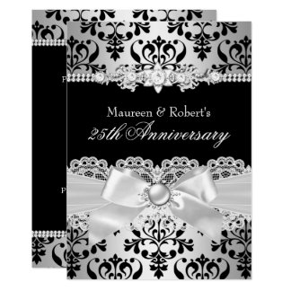 Black Silver Damask Pearl Bow 25th Anniversary Card
