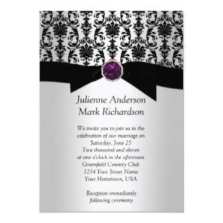 Black Silver Damask Purple Jewel Wedding Invitatio Card