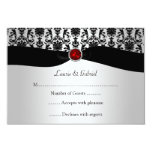 Black Silver Damask Red Jewel RSVP Invitation