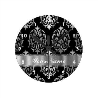 Black & silver damask round clock