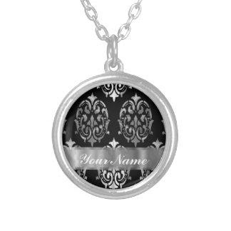 Black & silver damask round pendant necklace