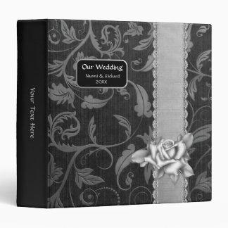 Black Silver Damask  Wedding Custom Wedding Album Binder