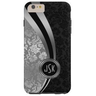 Black & Silver Damasks Dynamic Stripes Monogramed Tough iPhone 6 Plus Case