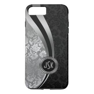 Black & Silver Damasks Dynamic Stripes Monogramed iPhone 8 Plus/7 Plus Case