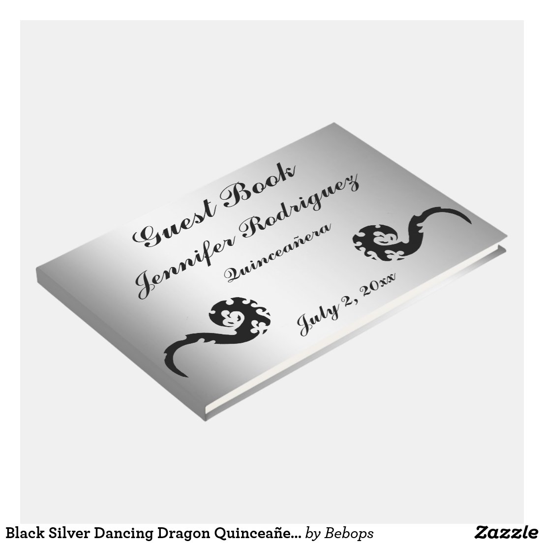 Black Silver Dancing Dragon Quinceañera Guest Book