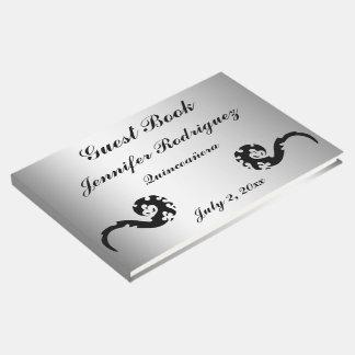 Black Silver Dancing Dragon Quinceañera Guest Book