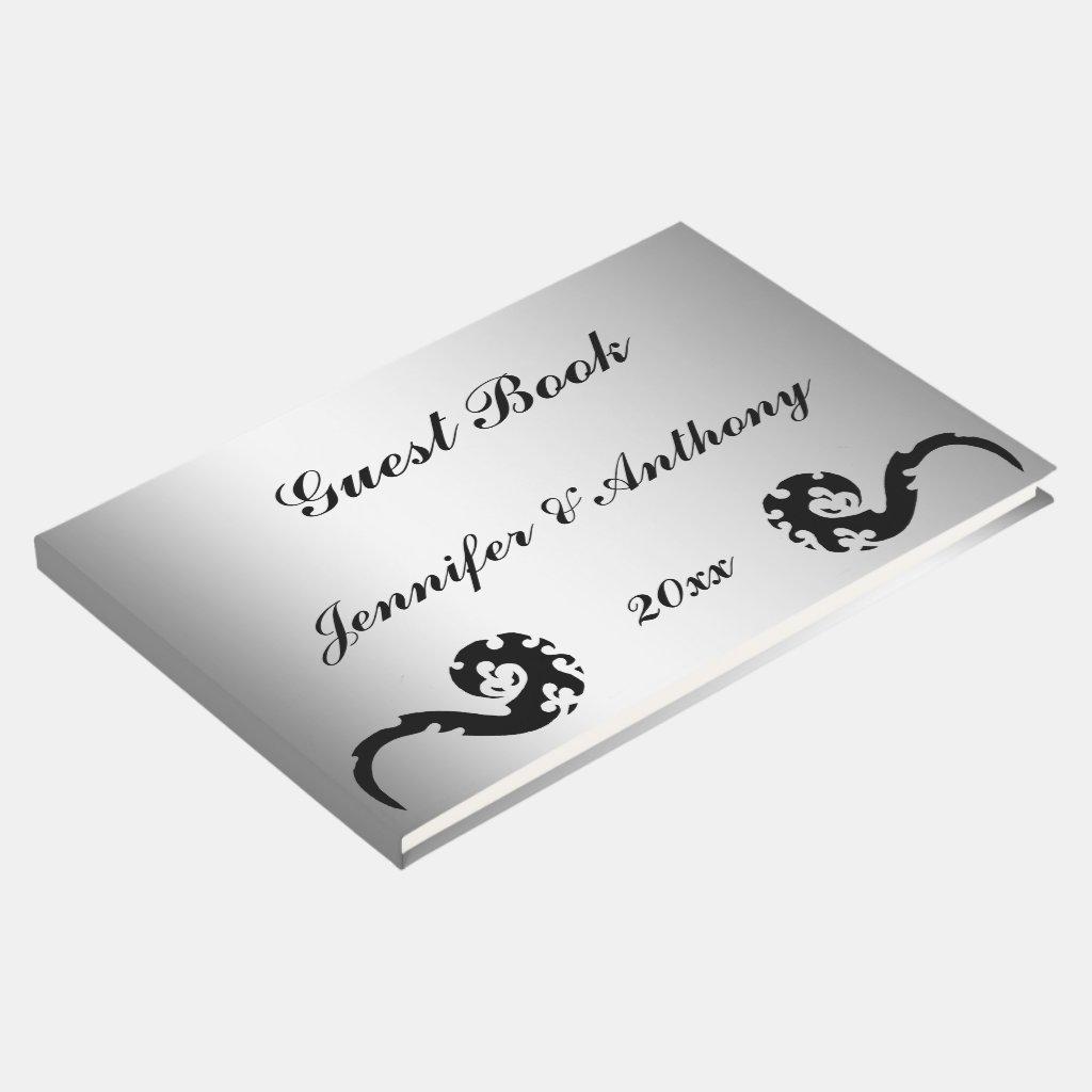 Black Silver Dancing Dragon  Wedding Guest Book