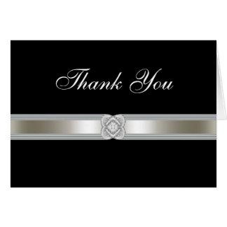 Black Silver Diamond Band Thank You Card