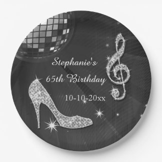Black/Silver Disco Ball and Heels 65th Birthday Paper Plate