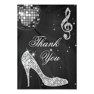 Black & Silver Disco Ball Sparkle Heels Thank You 3.5x5 Paper Invitation Card