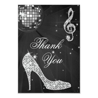 Black & Silver Disco Ball Sparkle Heels Thank You 3.5x5 Paper Invitation Card