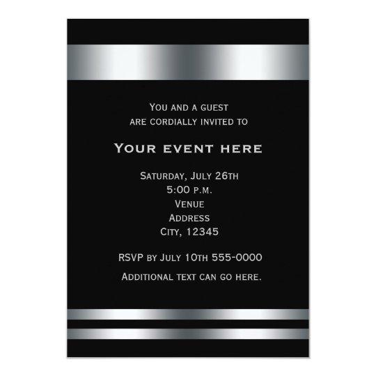 black silver elegant dinner party event invitation zazzle com